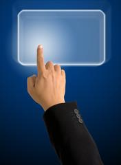 Index finger pointing on light blue Rectangle
