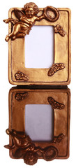 Set of miniature golden angel frames isolated
