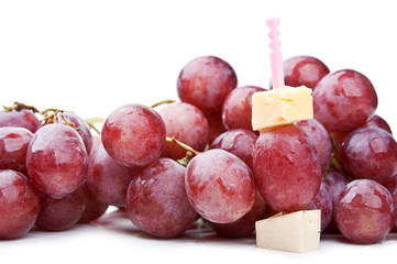 fresh red grapes and canape with cheese
