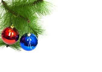 two christmas toys on white background