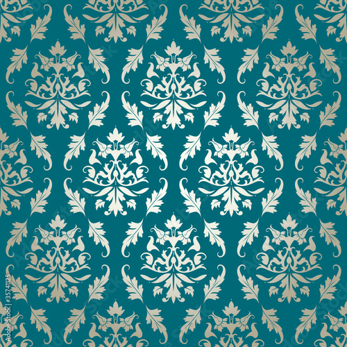 quotseamless damask pattern flowers amp leafs turquoisegold