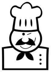 Outlined Chef Man Face Black Cartoon Mascot