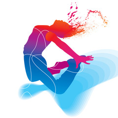 The dancer. Colorful silhouette on abstract background. Vector