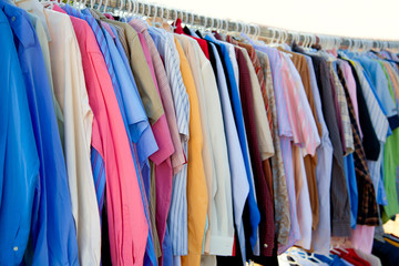 fashion shirt rack with colorful clothes