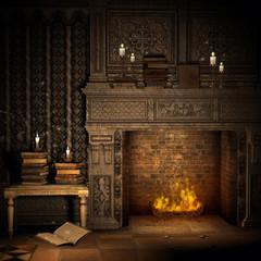 Magiczny kominek z książkami