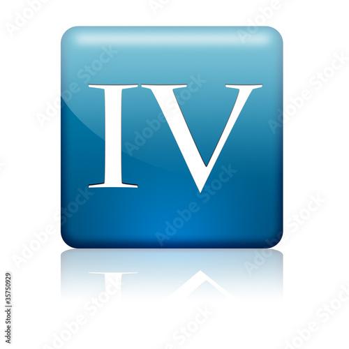 Boton Cuadrado Azul Numero Romano 4 Stock Photo And Royalty Free