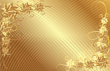 Gold floral vector frame background