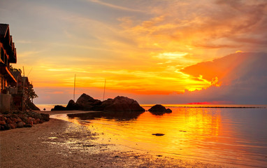 Tropical colorful sunset.