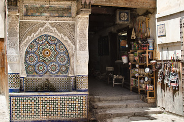 Decorated fountain in the souk of Fez
