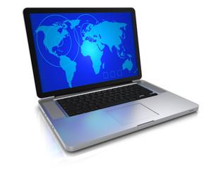 Laptop mit Weltkarte