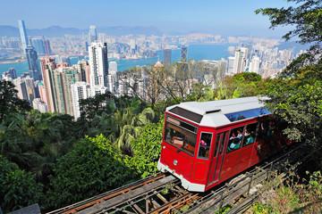 Foto op Plexiglas Hong-Kong Tourist tram at the Peak, Hong Kong