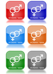 "Woman/Man  ""6 buttons of different colors"""