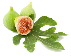 Ripe  fig fruits  and leaf