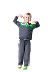 little sportive boy demonstrates his success isolated on white