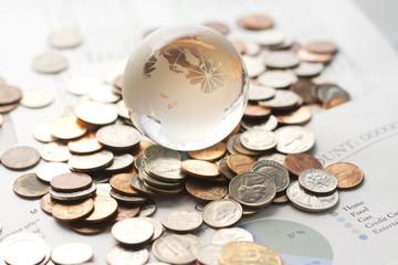 Globe with money
