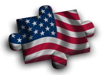 Color puzzle piece with flag of united states