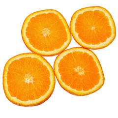 Orange slices isolated over white background.