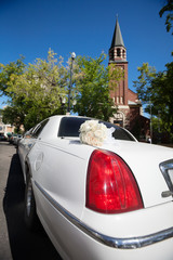 Wedding Limo and Church