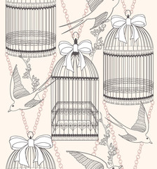 Wall Murals Birds in cages Seamless pattern with birdcages, flowers and birds. Floral and s