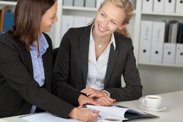 zwei geschäftsfrauen bei der arbeit im büro