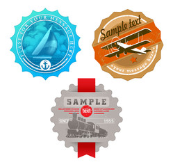 Vector vintage labels with retro transport