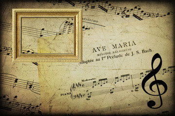 Musical texture grunge with frame