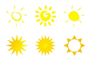 vector sun icons logo or clip art isolated on white background