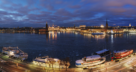 A night view of Stockholms old city