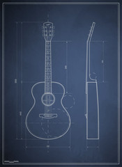 blueprint drawing six-acoustic guitar