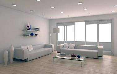 Interno con divano e parquet rendering 3d
