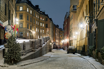 Street in the historical part of Stockholm city