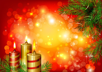 red Christmas background with burning candles and fir-tree