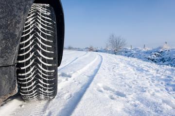 Snow tyre on track