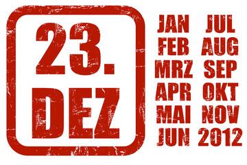 Grunge Stempel rot KALENDER 23.