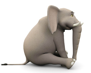 elephante cartoon in sit pose side view