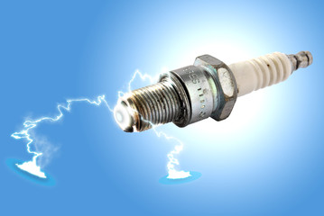 Spark plug igniting lighting bolts