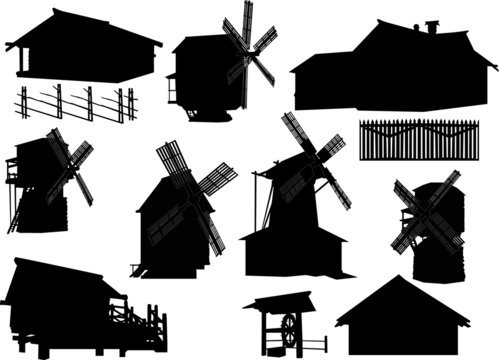 country building silhouettes collection