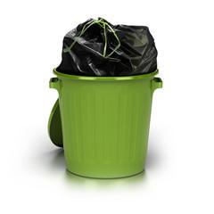 poubelle verte pleine, surconsommation, déchets