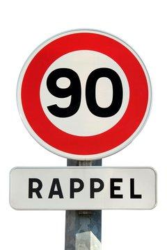Panneau de limitation de vitesse à 90 km/h avec rappel
