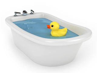 3D render of a bath with rubber duck