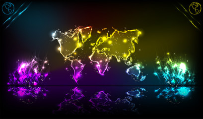 Earth neon light abstract background