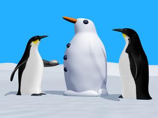 Building a snow penguin