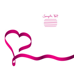 Card Pink Ribbon Heart