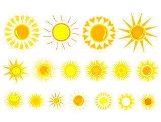 sun yellow set vector illustration