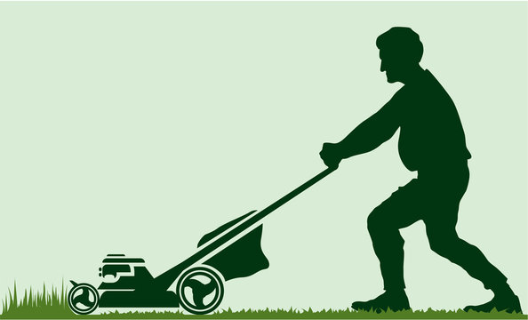 Man moving the lawn