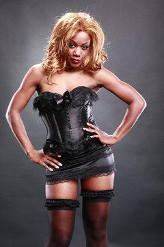 Fir AA in black corset