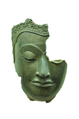 buddha's face break isolated on white background