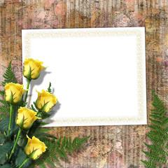 Elegant framework for invitation on the paper background.