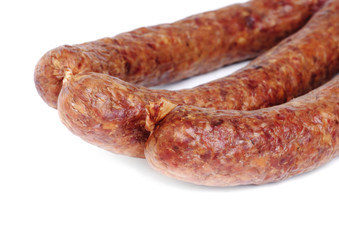 Sausage isolation on white background .Meat product.