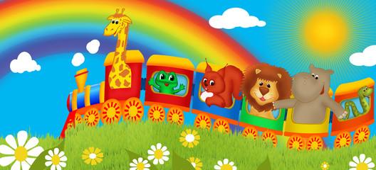 Obraz premium Baner dla dzieci - wesoły pociąg